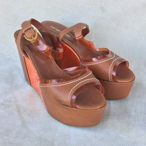 Sergio Rossi Wedge Platform Sandals EUC